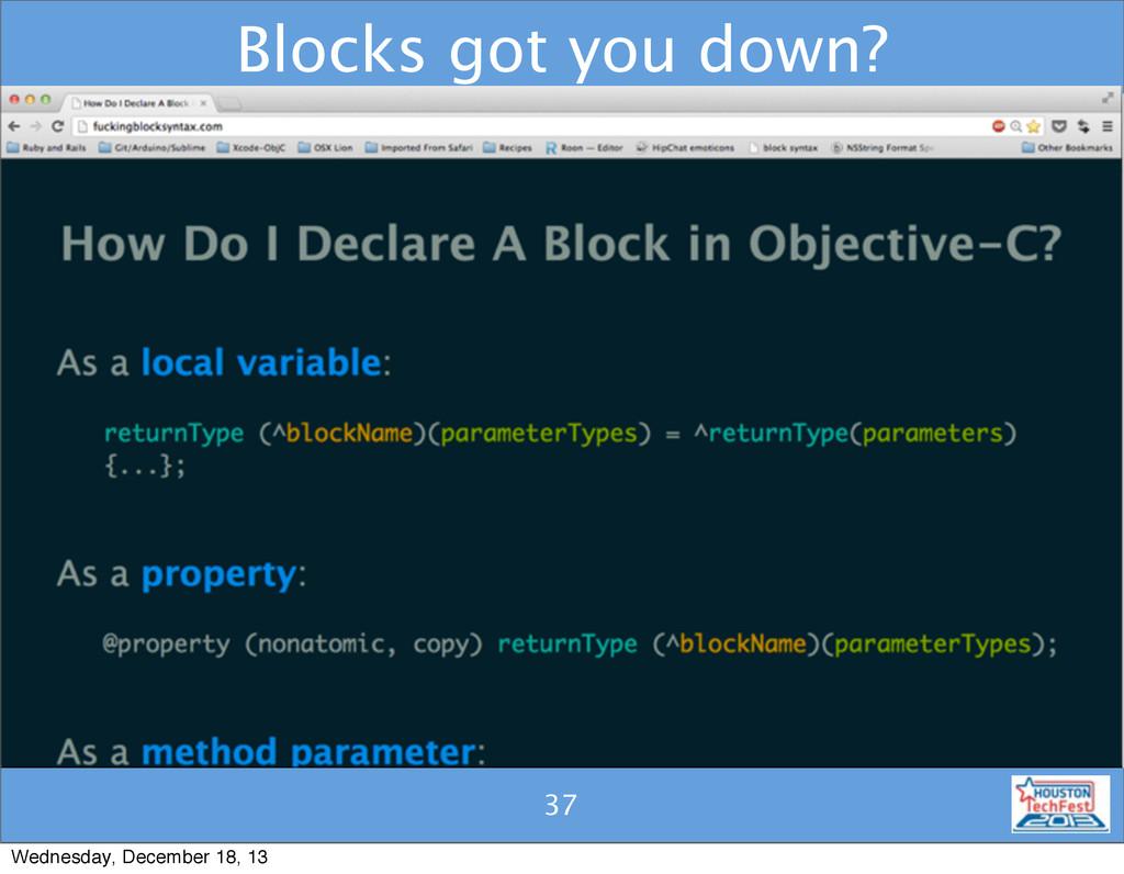 37 Blocks got you down? 37 Wednesday, December ...
