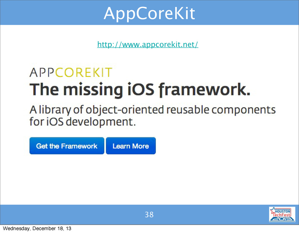 38 AppCoreKit 38 http://www.appcorekit.net/ Wed...
