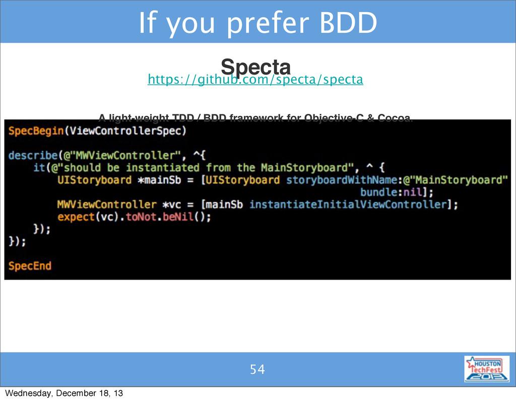 53 If you prefer BDD 54 Specta A light-weight T...