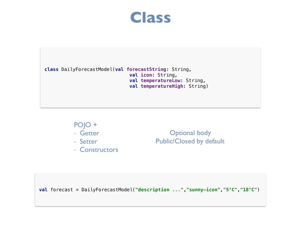 Class class DailyForecastModel(val forecastStri...