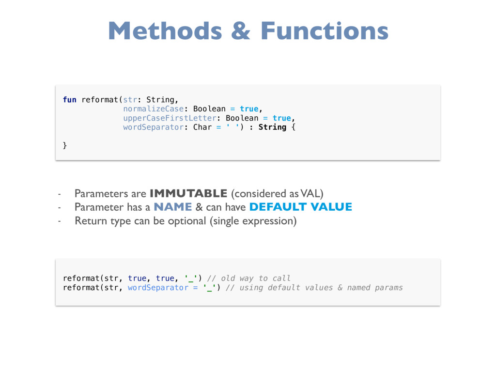 Methods & Functions fun reformat(str: String, ...