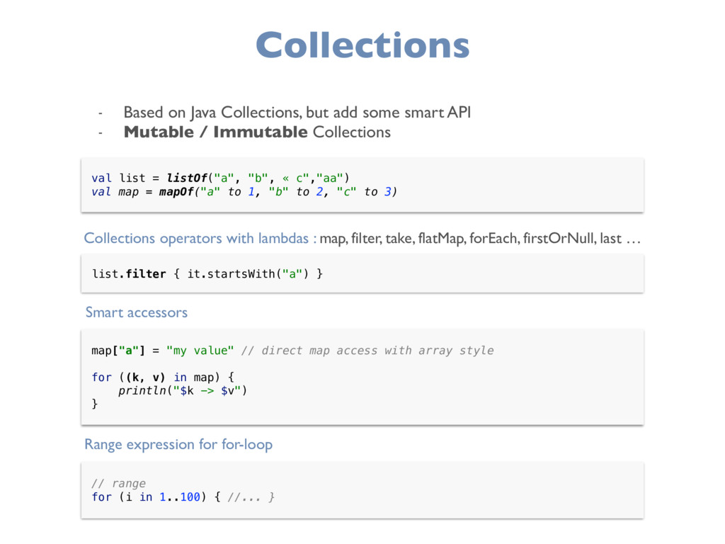 """Collections val list = listOf(""""a"""", """"b"""", « c"""",""""a..."""