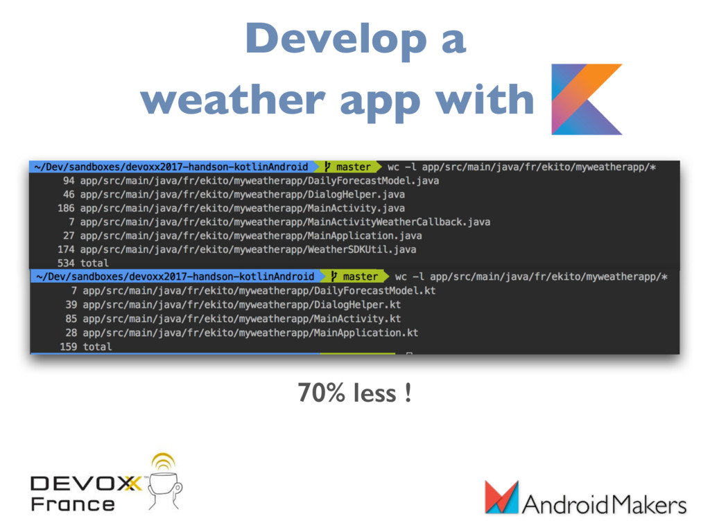 70% less ! Develop a weather app with K