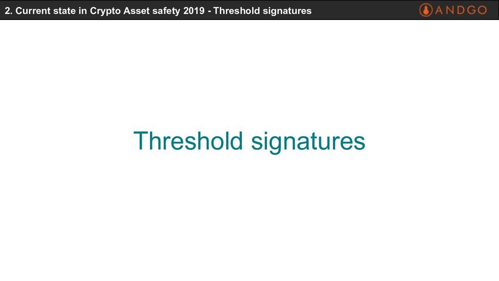 Threshold signatures 2. Current state in Crypto...