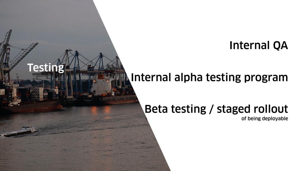Internal QA Testing Internal alpha testing prog...