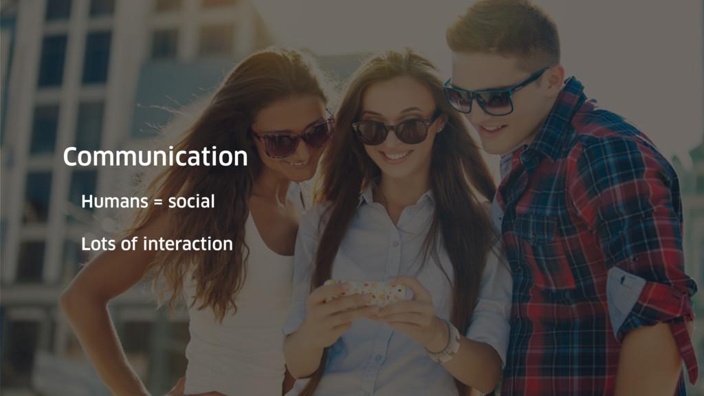Communication Humans = social Lots of interacti...