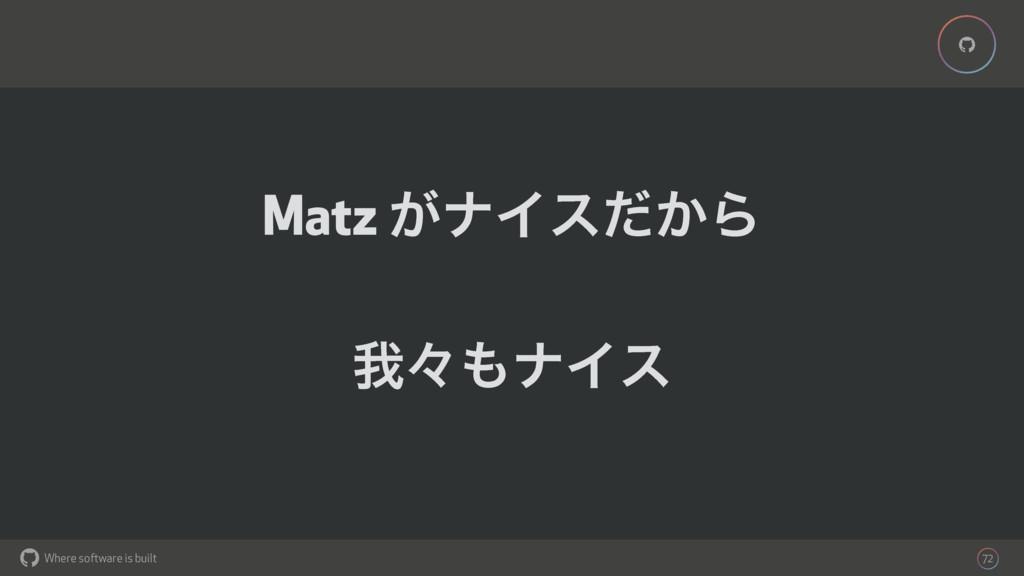 Where software is built % % 72 Matz ͕φΠε͔ͩΒ զʑ...