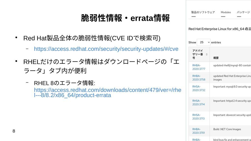 8 脆弱性情報・errata情報 ● Red Hat製品全体の脆弱性情報(CVE IDで検索可...