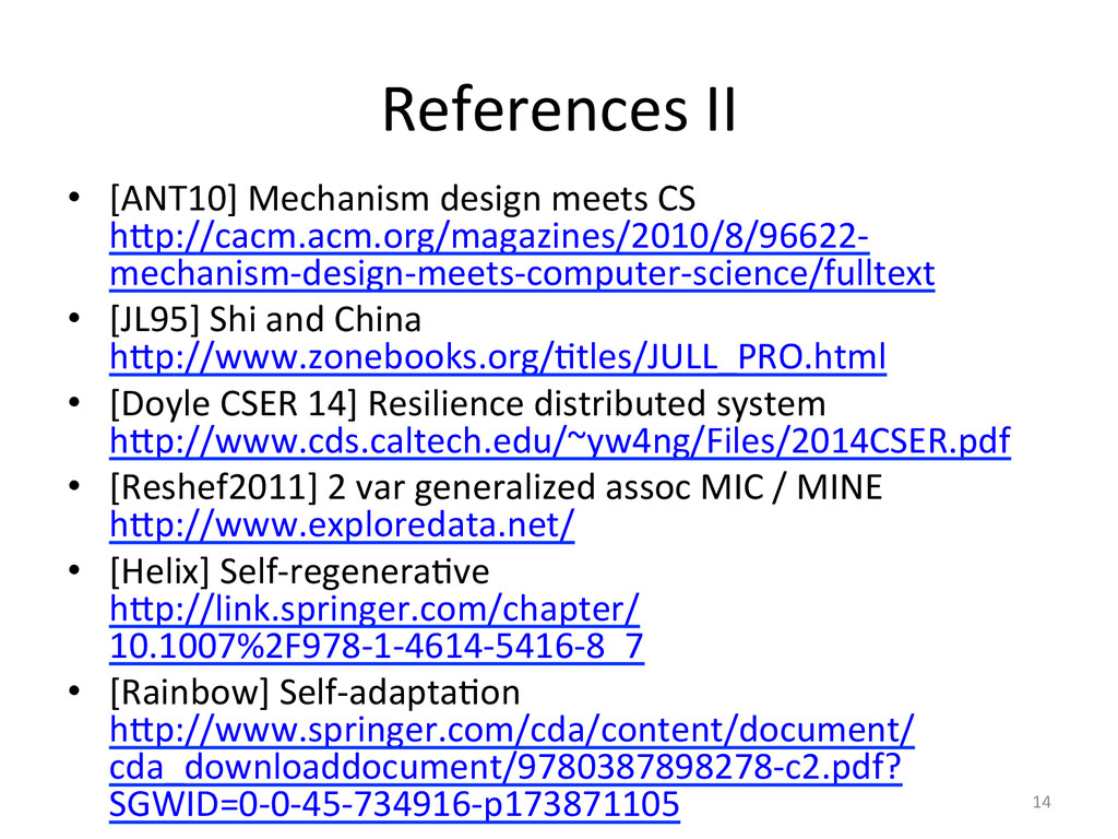 References'II' •  [ANT10]'Mechanism'design'meet...