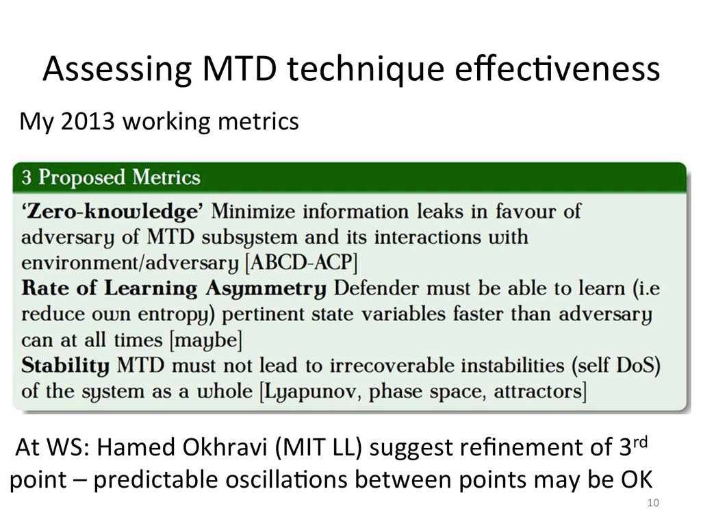 Assessing'MTD'technique'effec2veness' 10' My'201...