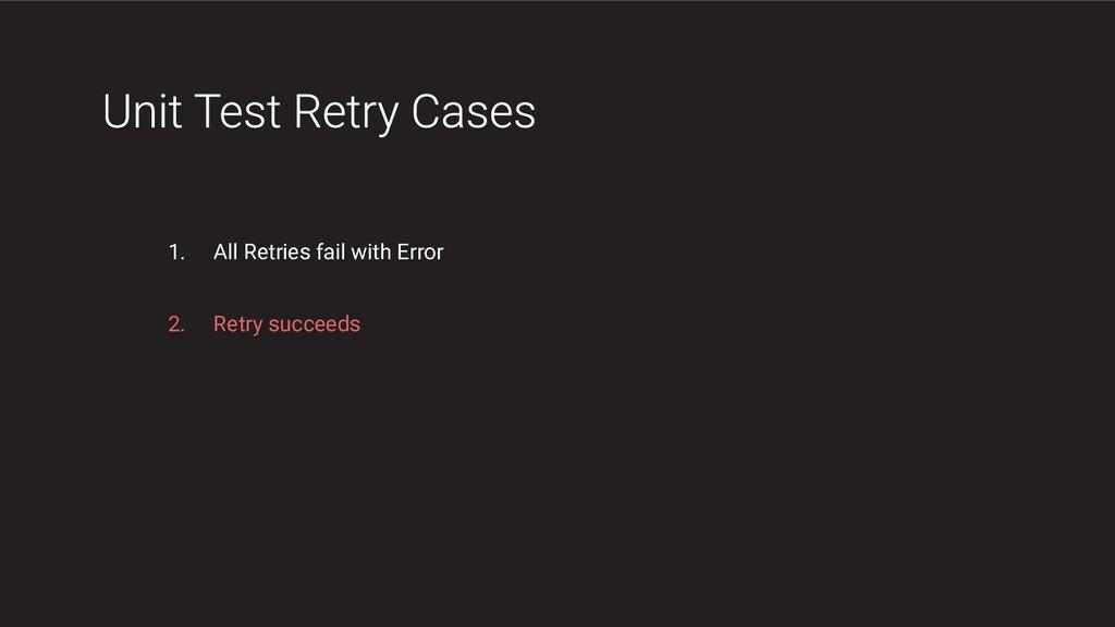 1. All Retries fail with Error 2. Retry succeeds