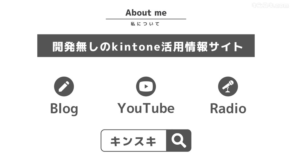 About me 私 に つ い て Blog 開発無しのkintone活用情報サイト You...