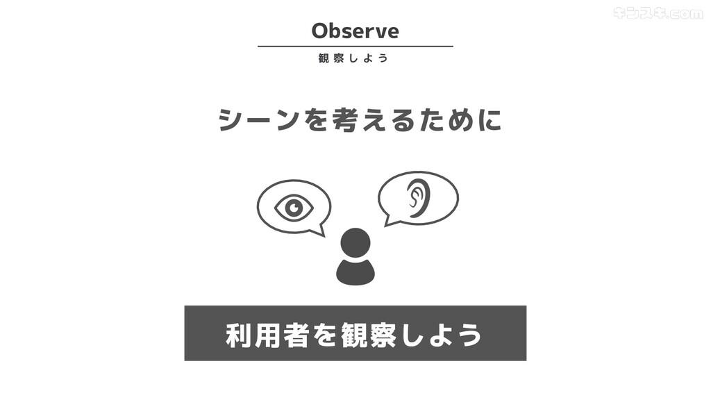 シーンを考えるために 利用者を観察しよう Observe 観 察 し よ う