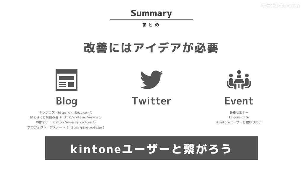 Summary ま と め 改善にはアイデアが必要 Blog Twitter Event キン...