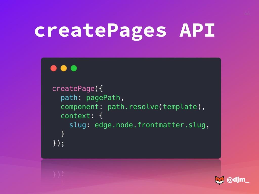 @djm_ @djm_ 46 createPages API