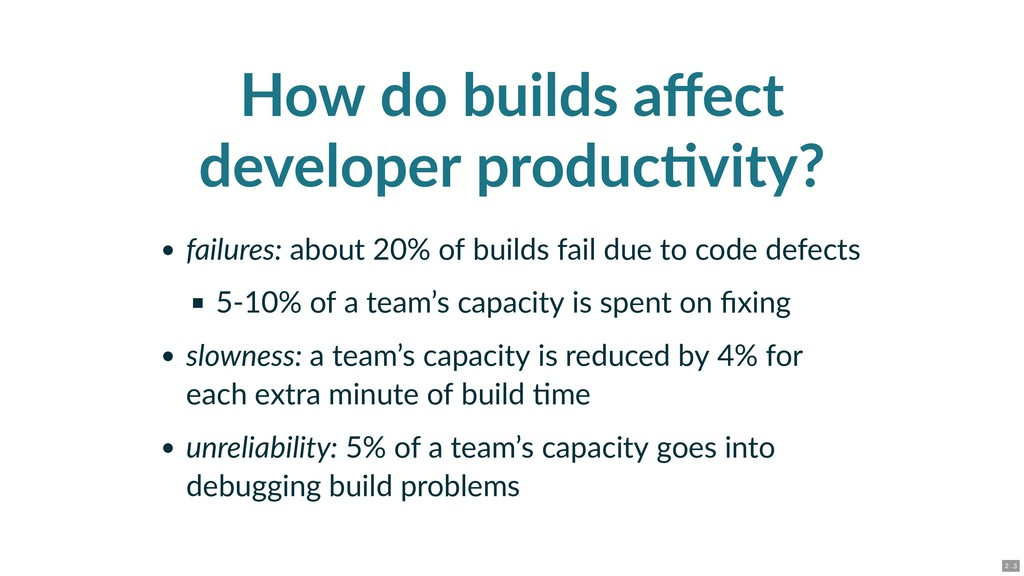 How do builds affect developer produc vity? fail...