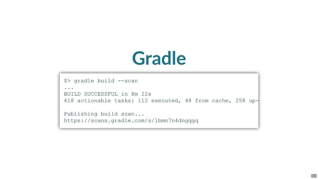 Gradle $> gradle build scan ... BUILD SUCCESS...