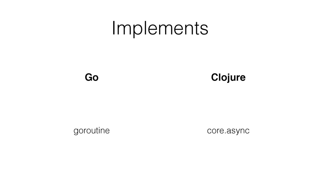 Implements Go Clojure goroutine core.async