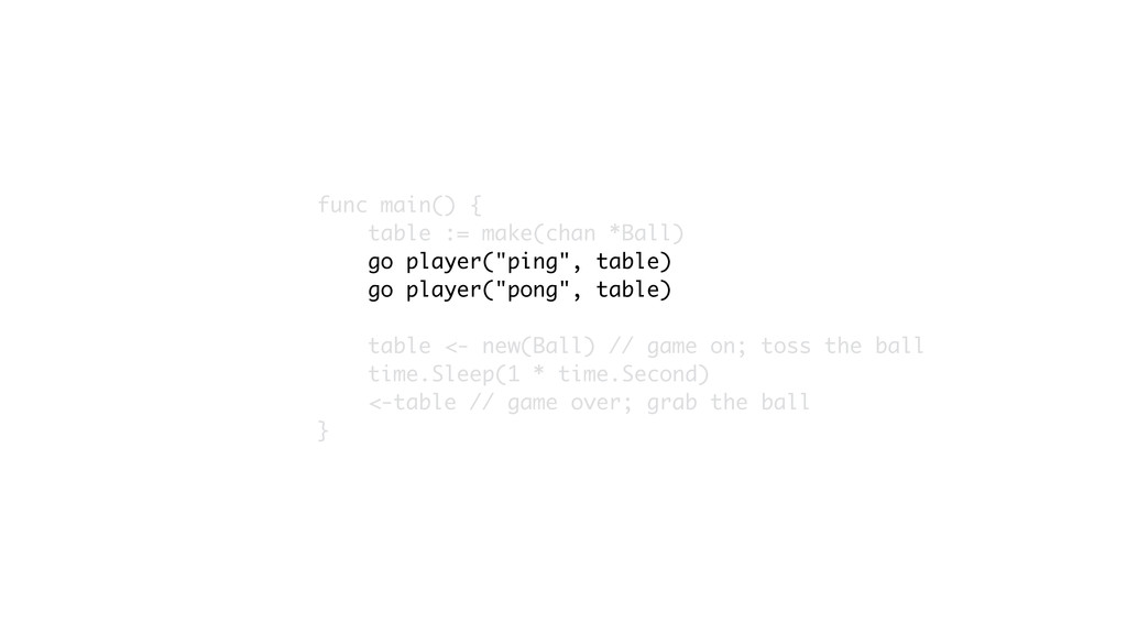 func main() { table := make(chan *Ball) go play...