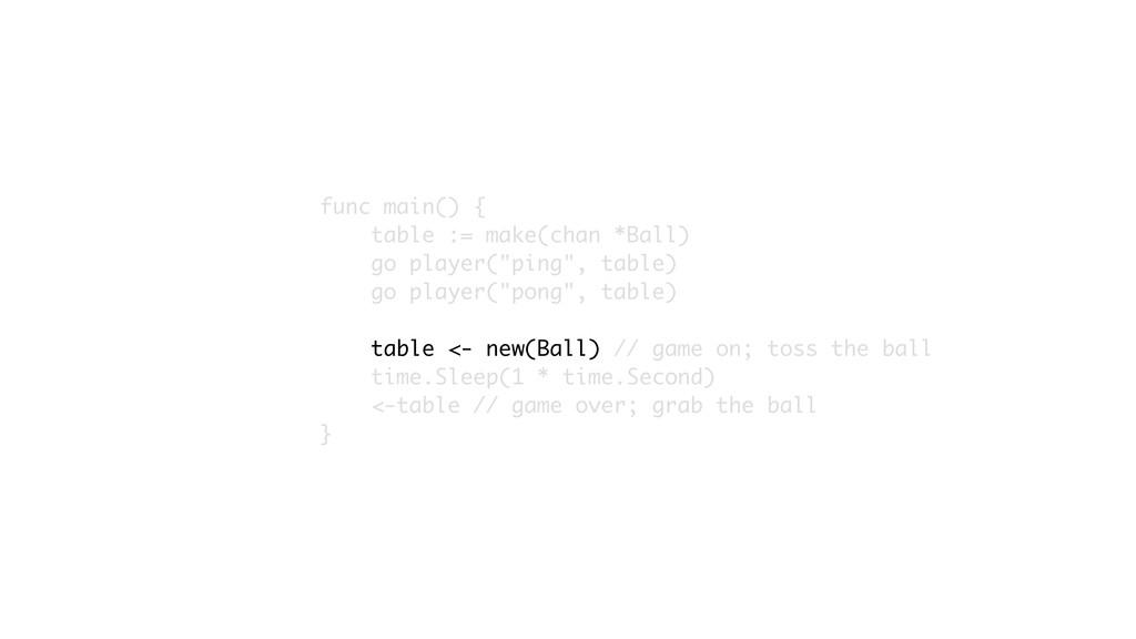 func main() { table := make(chan *Ball) go play...
