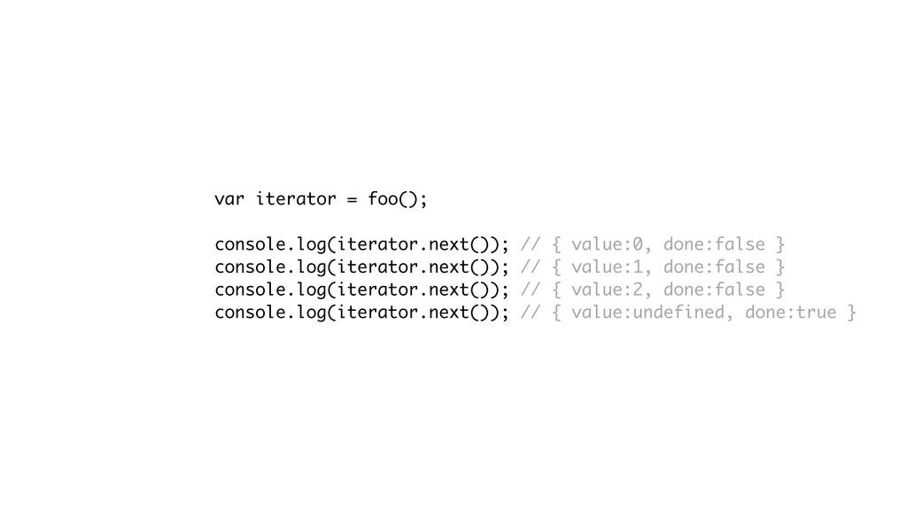 var iterator = foo(); console.log(iterator.next...