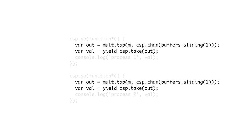 csp.go(function*() { var out = mult.tap(m, csp....
