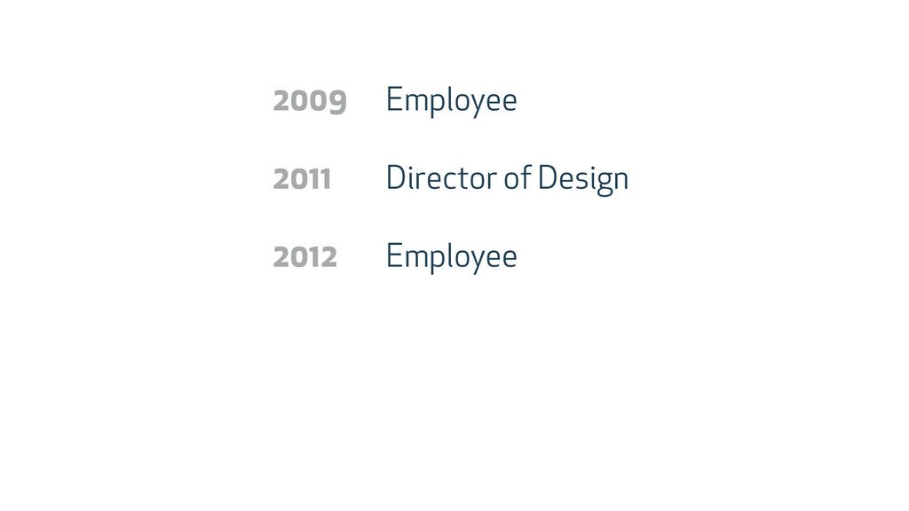 Employee Director of Design Employee 2009 2011 ...