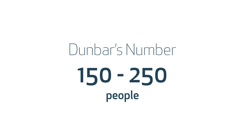 150 - 250 people Dunbar's Number