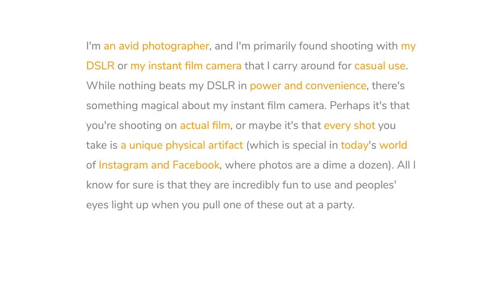 I'm an avid photographer, and I'm primarily fou...
