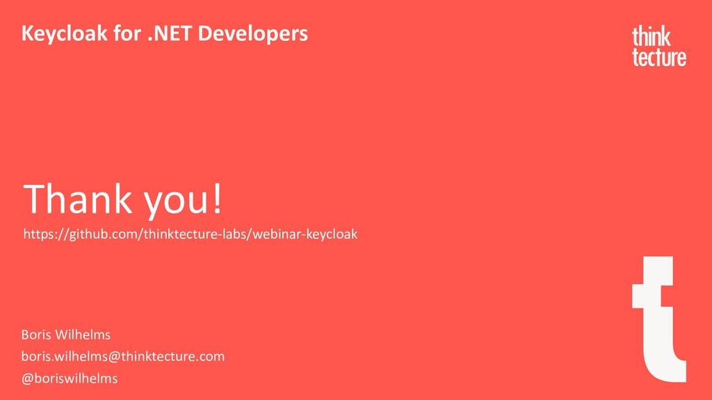 Keycloak for .NET Developers Boris Wilhelms bor...