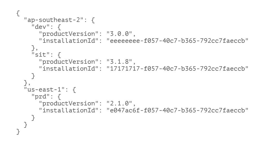 """{ """"ap-southeast-2"""": { """"dev"""": { """"productVersion""""..."""