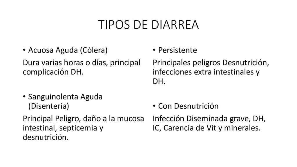 TIPOS DE DIARREA • Acuosa Aguda (Cólera) Dura v...