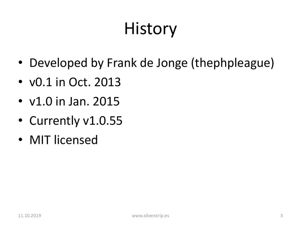 History • Developed by Frank de Jonge (thephple...