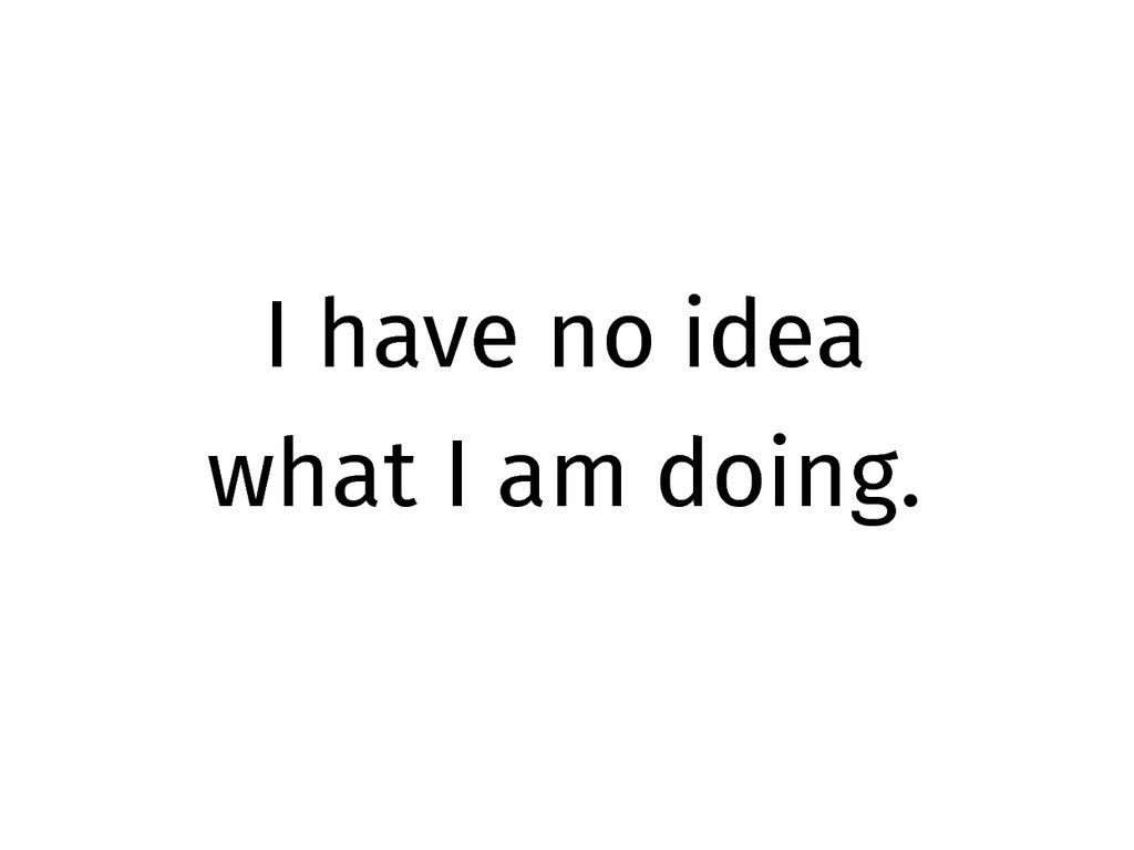 I have no idea what I am doing.