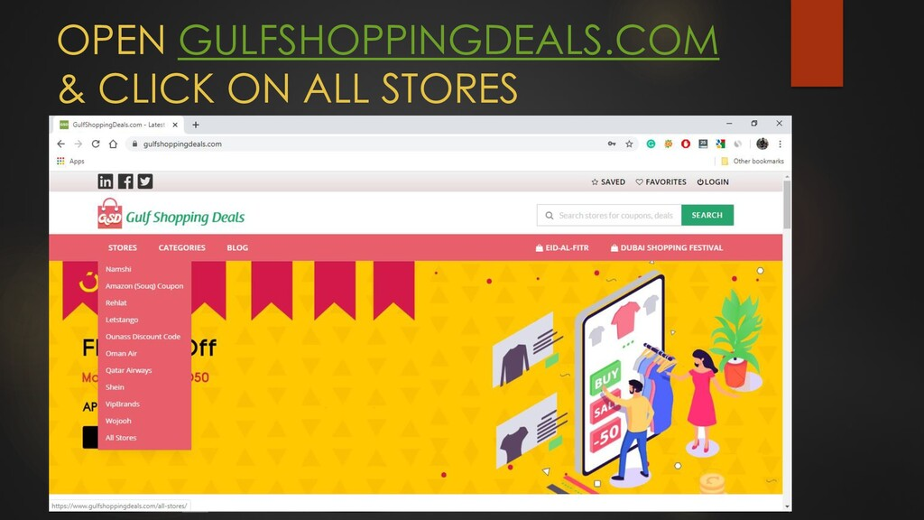 OPEN GULFSHOPPINGDEALS.COM & CLICK ON ALL STORES