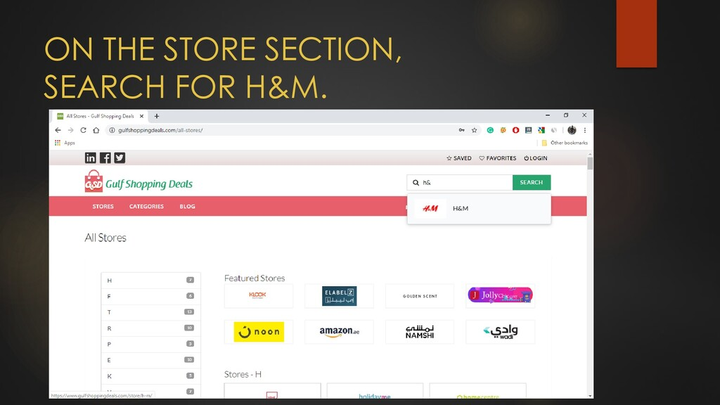 ON THE STORE SECTION, SEARCH FOR H&M.