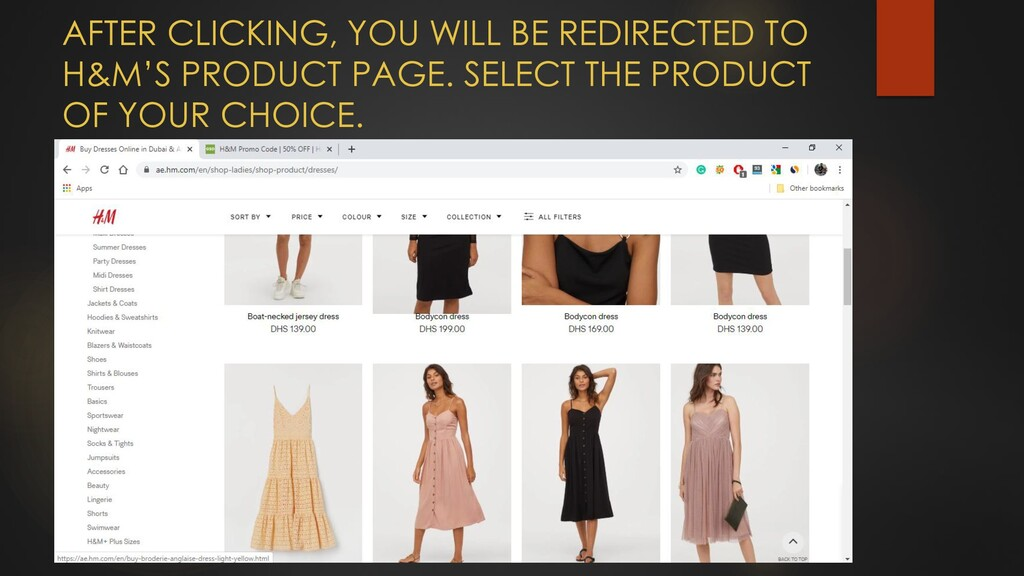 AFTER CLICKING, YOU WILL BE REDIRECTED TO H&M'S...