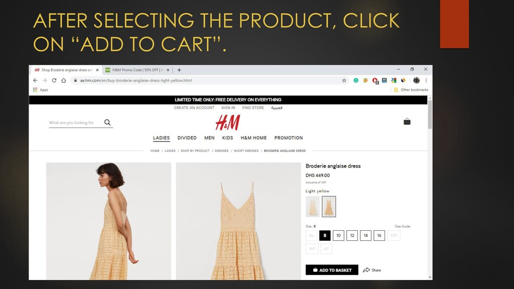 """AFTER SELECTING THE PRODUCT, CLICK ON """"ADD TO C..."""