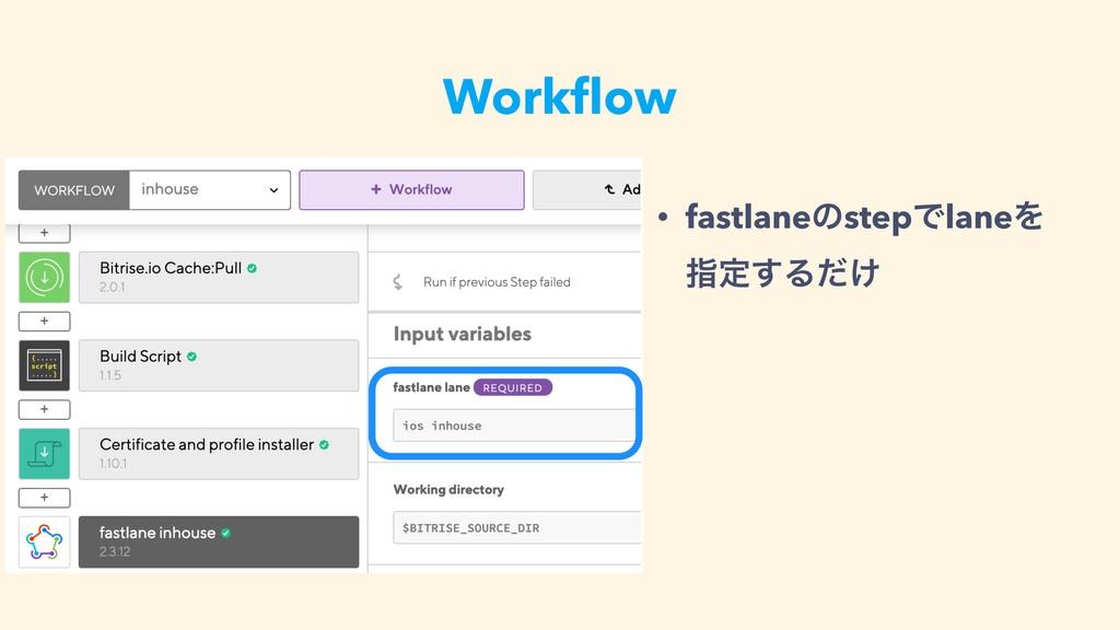 Workflow • fastlaneͷstepͰlaneΛ ࢦఆ͢Δ͚ͩ