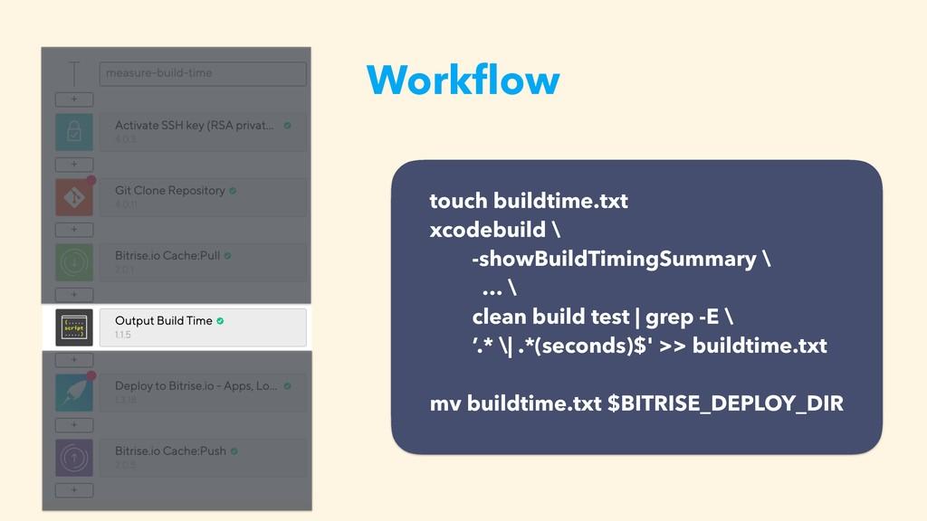 Workflow touch buildtime.txt xcodebuild \ -showB...