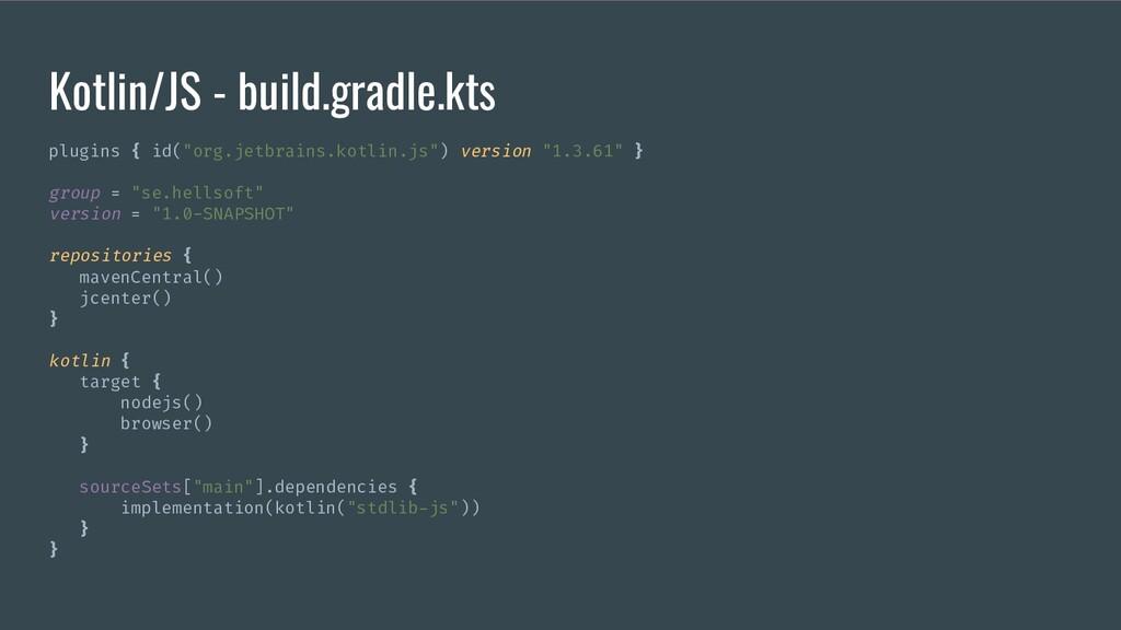 "Kotlin/JS - build.gradle.kts plugins { id(""org...."