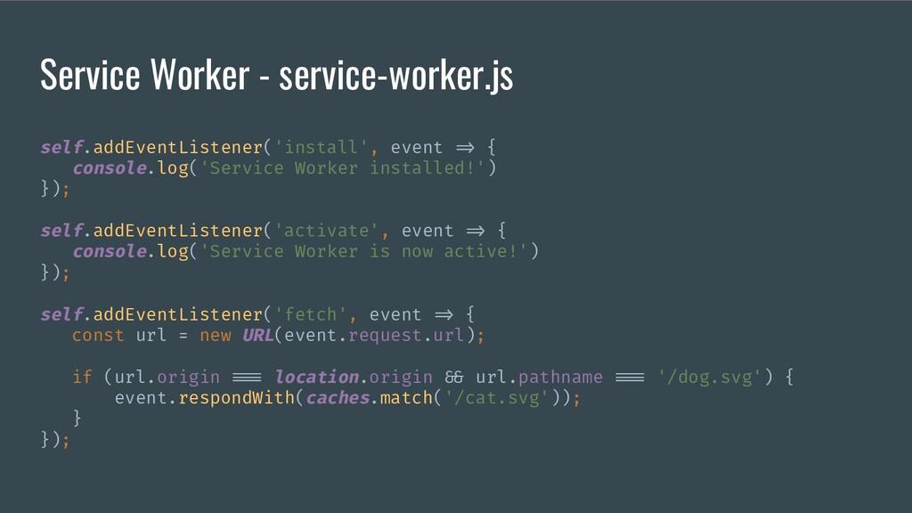 Service Worker - service-worker.js self.addEven...