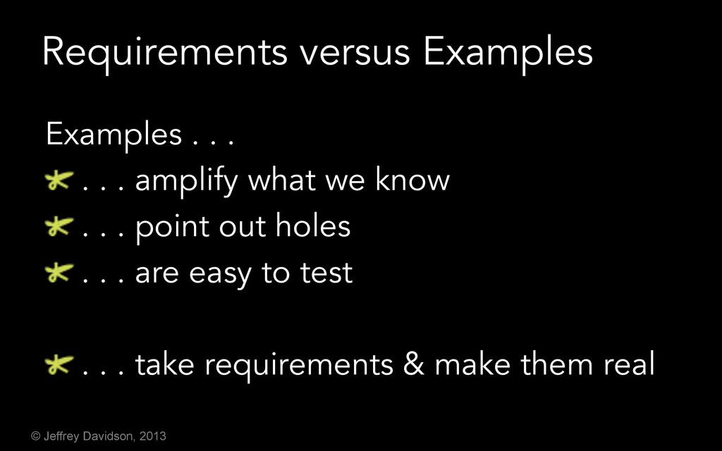 © Jeffrey Davidson, 2013 Requirements versus Ex...