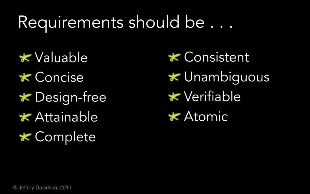 © Jeffrey Davidson, 2013 Requirements should be...