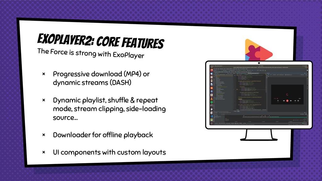 × Progressive download (MP4) or dynamic streams...