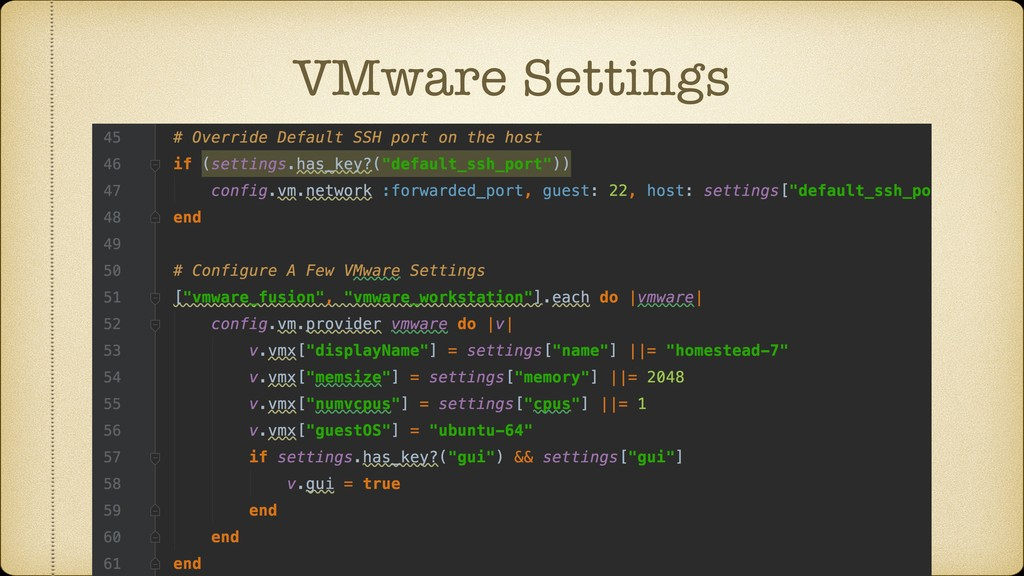 VMware Settings