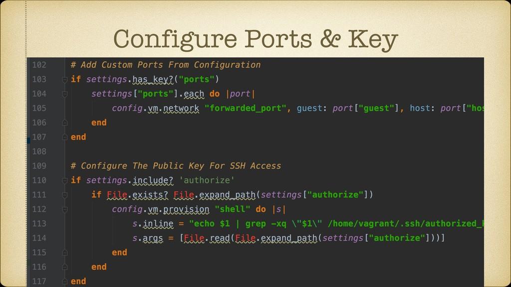 Configure Ports & Key