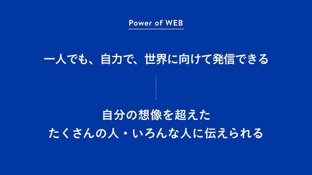 ҰਓͰɺࣗྗͰɺੈքʹ͚ͯൃ৴Ͱ͖Δ Power of WEB ࣗͷ૾Λ͑ͨ ͨ͘...