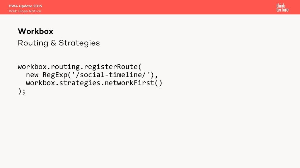 Routing & Strategies workbox.routing.registerRo...