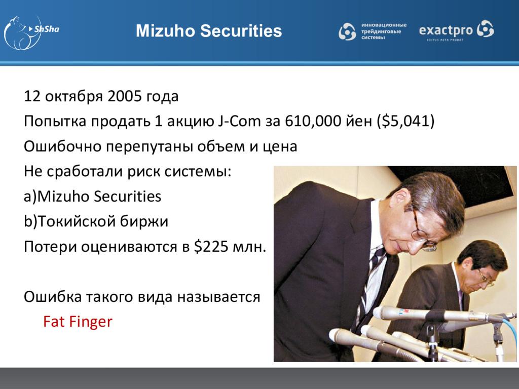 Mizuho Securities 12 октября 2005 года Попытка ...